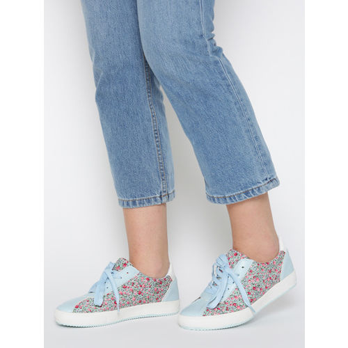 Lavie Women Mint Green & Pink Floral Print Sneakers
