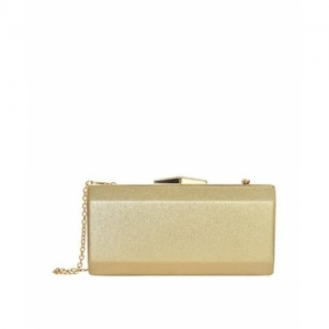 Lino Perros Golden Solid Leather Minaudiere Clutch