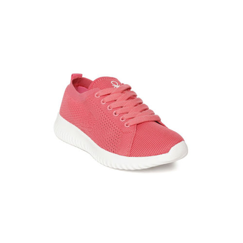 United Colors of Benetton Women Coral Pink Woven Design Sneakers