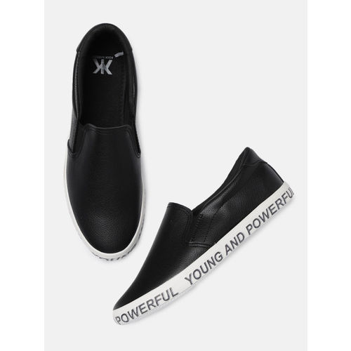 Kook N Keech Women Black Slip-On Sneakers