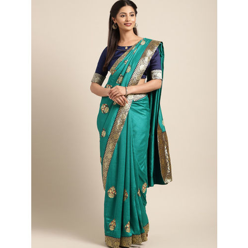 Indian Women Green & Gold-Toned Poly Silk Embellished Saree