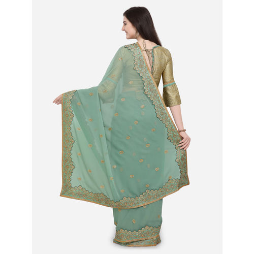 Indian Women Green Embroidered Pure Georgette Saree