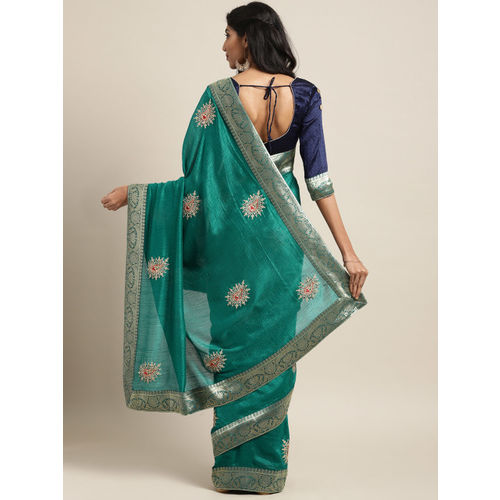 Indian Women Green Embroidered Poly Silk Saree