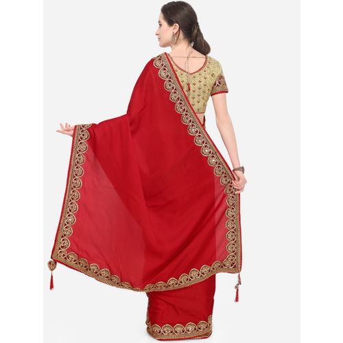 Indian Women Red & Maroon Poly Georgette Embroidered Saree