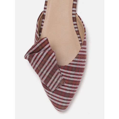 Mast & Harbour Women Maroon & Off-White Striped Mules