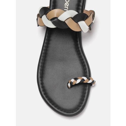 DressBerry Women Black & Brown Colourblocked One Toe Flats