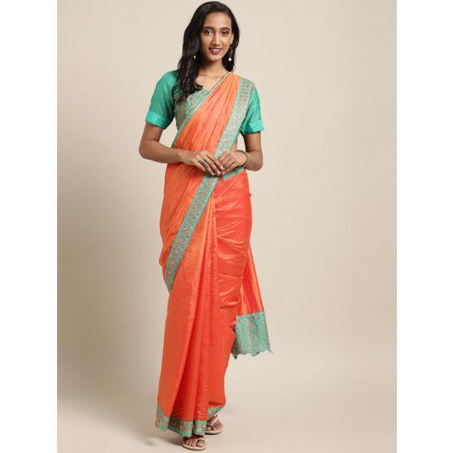 Indian Women Orange Poly Silk Embroidered Heavy Work Designer Saree