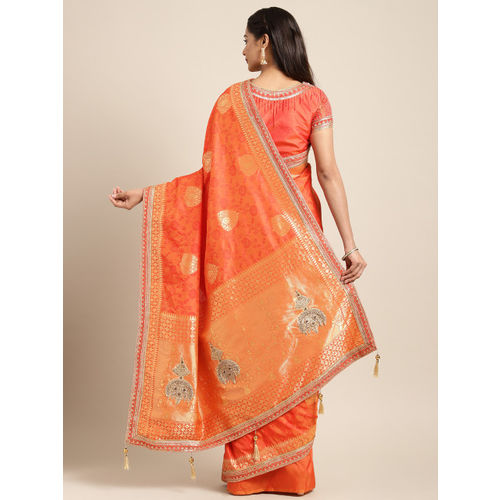 Indian Women Orange & Gold-Toned Pure Silk Embellished Banarasi Saree