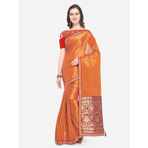 Indian Women Orange Pure Silk Solid Banarasi Saree