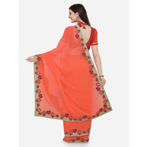 Indian Women Orange Embroidered Pure Georgette Saree