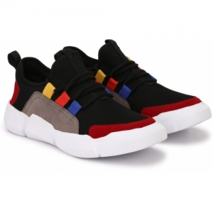 Shoe Island Black & Multicolor Canvas Running Sneakers