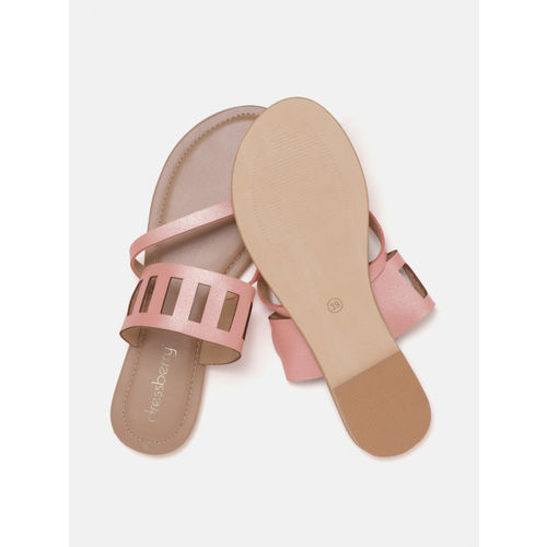 DressBerry Women Rose Gold-Toned Laser Cut One Toe Flats