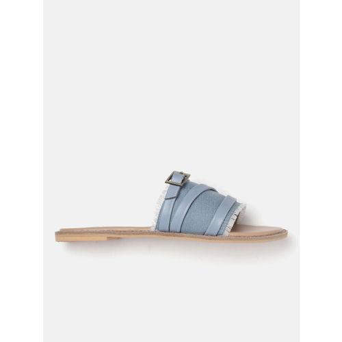 Roadster Women Blue Solid Denim Open Toe Flats