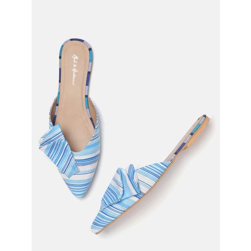 Mast & Harbour Women Blue & White Striped Mules
