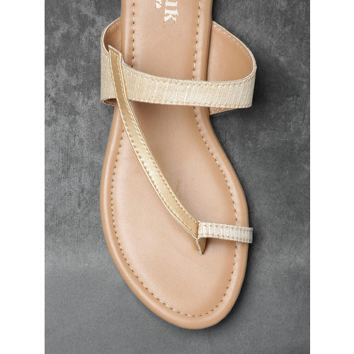 Anouk Women Cream-Coloured Solid One Toe Flats