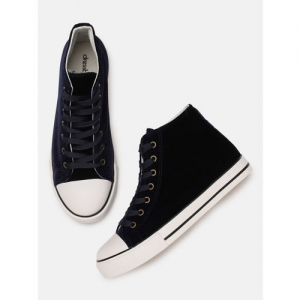 DressBerry Navy Blue Velvet Mid-Top Sneakers