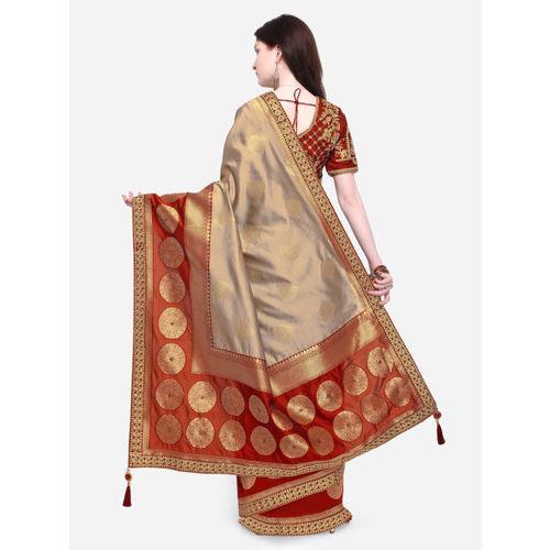 Indian Women Beige & Maroon Pure Silk Woven Design Banarasi Saree