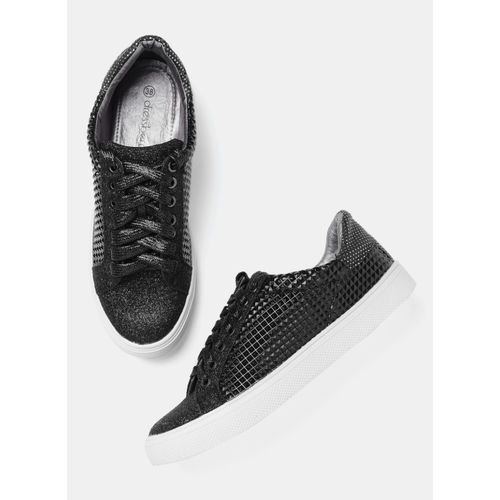 DressBerry Black Regular Synthetic Sneakers