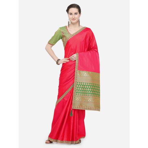 Indian Women Pink Poly Silk Solid Saree