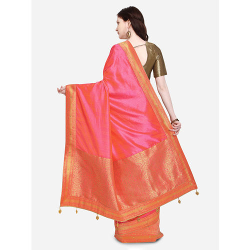 Indian Women Pink & Gold-Toned Silk Cotton Solid Banarasi Saree
