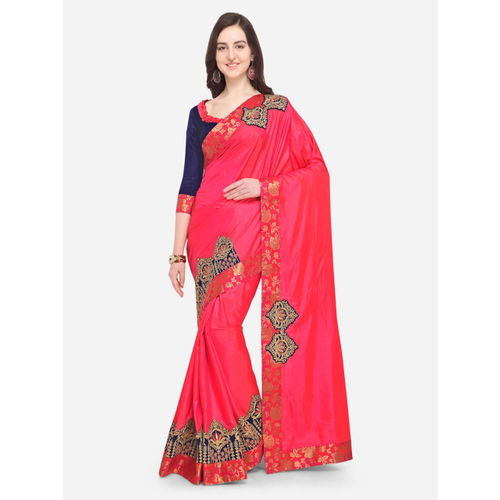 Indian Women Pink Solid Pure Silk Saree