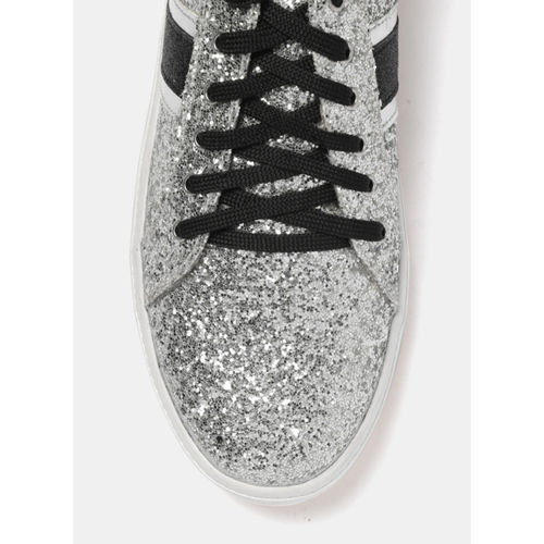 DressBerry Silver Regular Synthetic Lace Up Sneakers