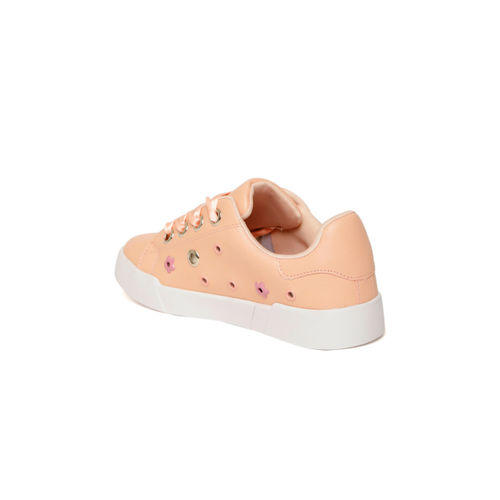 Jove Peach-Coloured Embellished Sneakers