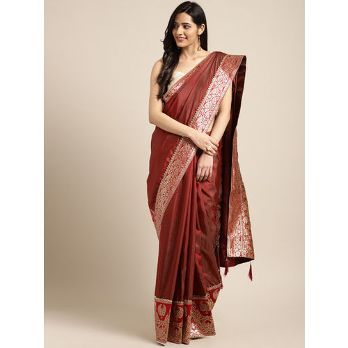 Indian Women Maroon Poly Silk Embellished Saree