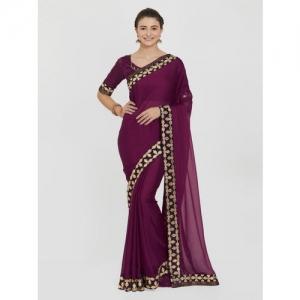 Indian Women Maroon Solid Pure Chiffon Saree