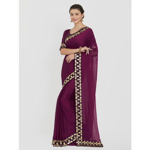 Indian Women Maroon Solid Pure Chiffon Saree