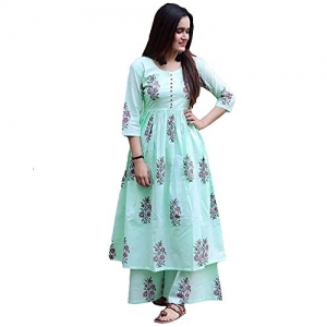 Marlin Sky Blue Cotton Festive & Party Kurti
