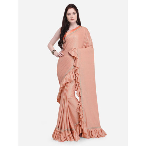 Indian Women Peach-Coloured Solid Poly Silk Saree