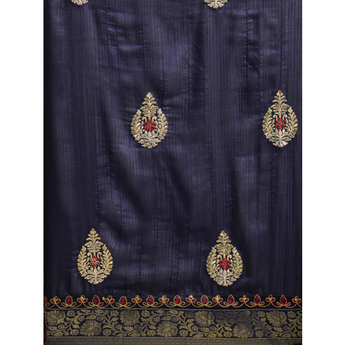 Indian Women Navy Blue & Gold-Toned Poly Silk Embellished Saree
