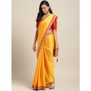 Indian Yellow & Red Embroidered Poly Silk Saree