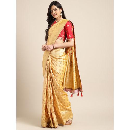 Indian Women Yellow Pure Silk Embellished Banarasi Saree