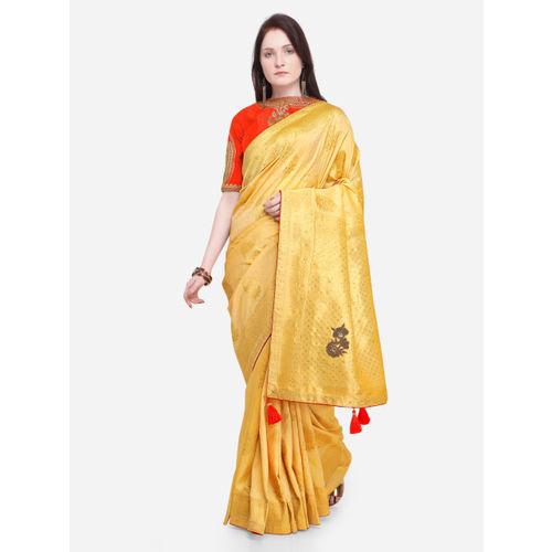 Indian Women Yellow Pure Silk Woven Design Banarasi Saree