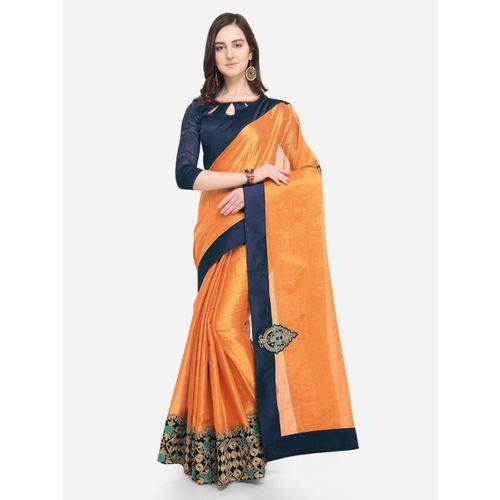 Indian Women Yellow Embroidered Silk Cotton Saree