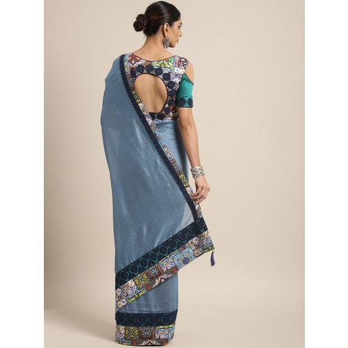Indian Women Blue Embellished Poly Silk Designer Saree