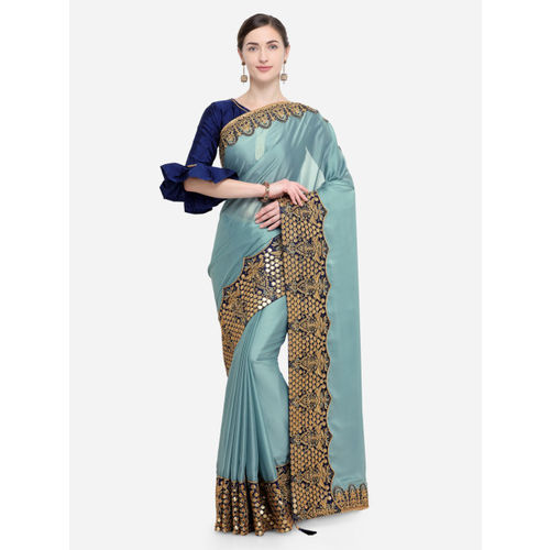 Indian Women Blue & Gold-Toned Pure Georgette Embellished Saree