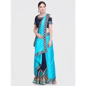 Indian Blue Solid Pure Georgette Saree