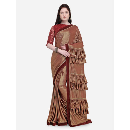 Indian Women Brown Solid Poly Silk Saree