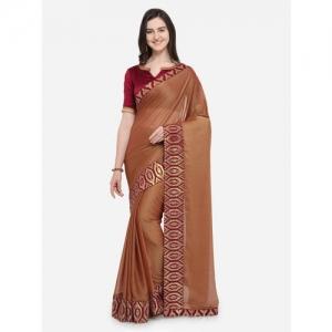 Indian Women Brown Printed Pure Chiffon Saree