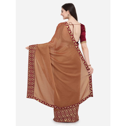 Indian Women Brown Printed Pure Chiffon Saree