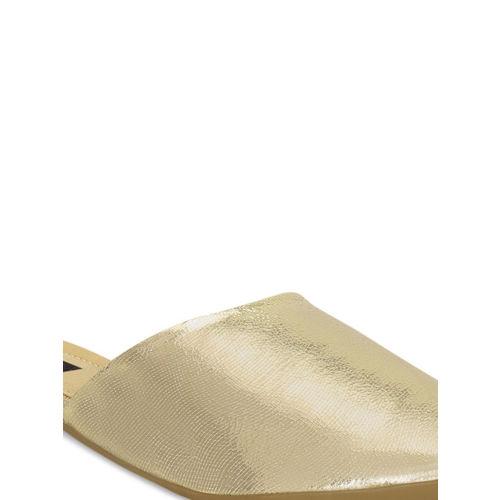 Kielz Women Gold-Toned Solid Mules