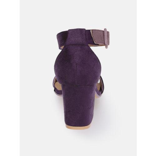Mast & Harbour Women Purple Solid Sandals