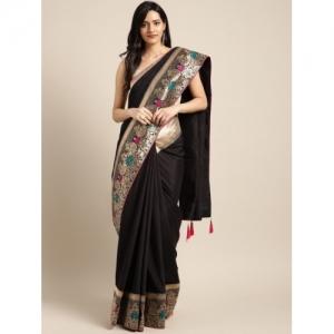 Indian Women Black & Gold-Coloured Poly Silk Embellished Saree