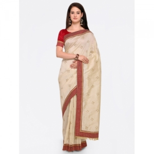 Indian Women Cream-Coloured Embroidered Pure Georgette Saree
