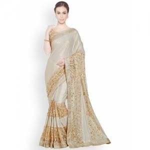 Indian Women Cream-Coloured & Beige Pure Georgette Embellished Saree