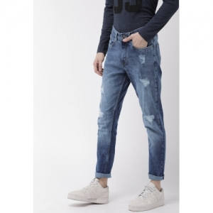 HIGHLANDER Blue Tapered Fit Mid-Rise Mildly Distressed Stretchable Jeans
