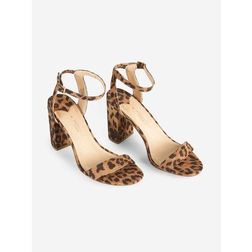 DOROTHY PERKINS Women Brown Leopard Print Block Heels